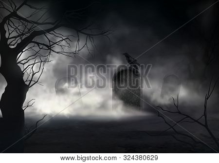 Frightening Halloween Realistic Background With Dried Trees Silhouettes And Black Crow Sitting On Sl