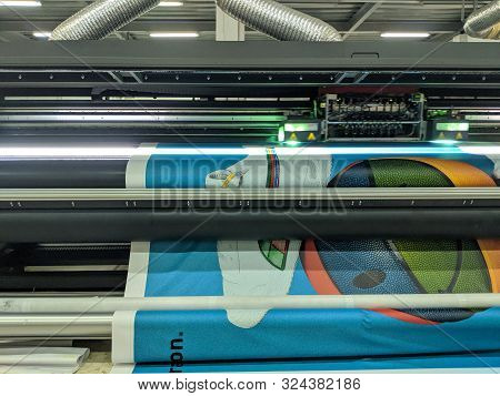 Jakarta, Indonesia - August 8, 2019: A Printing Press Machine Prints Large Images.