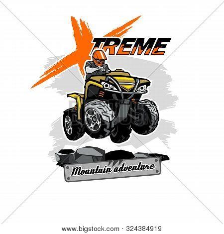 Quad Bike Atv Logo With Xtreme Mountain Adventure Inscription, Isolated Background
