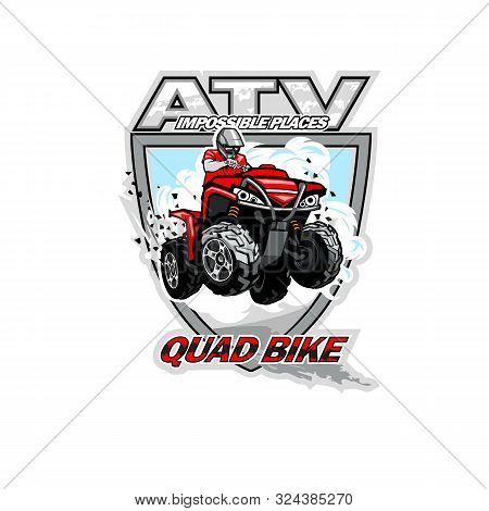 Atv Off-road Impossible Places With Red Quadbike, Isolated Background