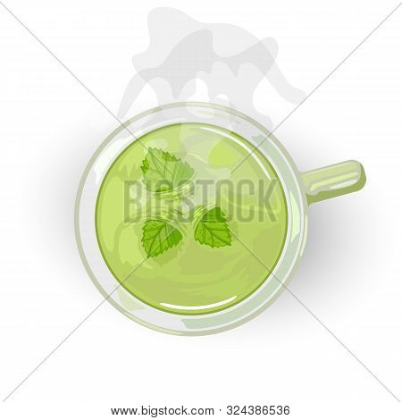 Herbal Curative Healthy Tea With Mint In Ceramic Cup. Hot Green Beverage Giving Relaxation, Recreati