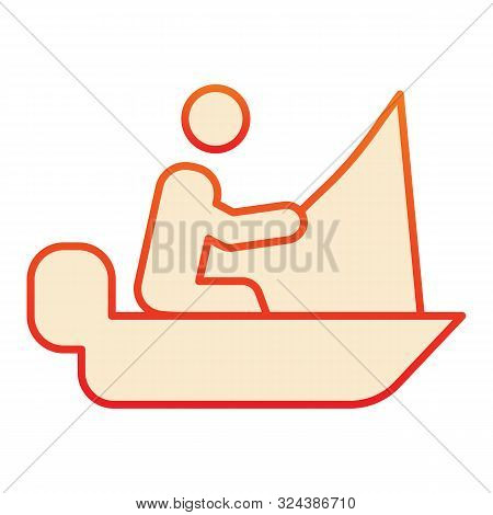 Fisher On Vessel Flat Icon. Man Cath Fish On Fishing Rod Orange Icons In Trendy Flat Style. Boat Wit