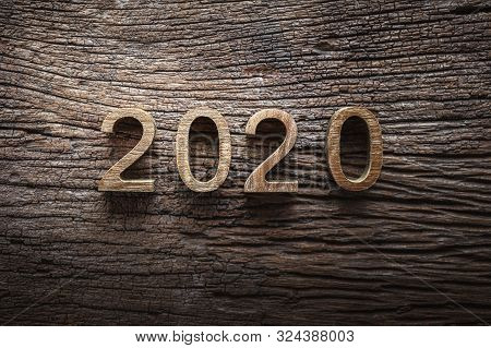 New Year 2020 Letter Wooden Number Happy New Year 2020 Concept