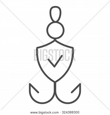 Fishhook Thin Line Icon. Bait Checked Vector Illustration Isolated On White. Verified Fishing Tackle