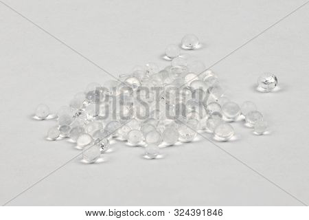 Polymer Pellets. Pile Of Silica Gel. Isolated On A White Background. High Resolution Photo. Full Dep