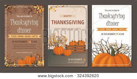 Set Thanksgiving Greeting Cards And Invitations With Pumpkin. Vector Illustration