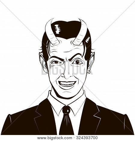 poster of Vector portrait of a malevolent laughing devil business man with horns
