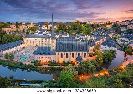 Luxembourg City, Luxembourg. Aerial Cityscape Image Of Old Town Luxembourg City Skyline During Beaut