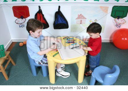 Boys Sharing Colors At Preschool