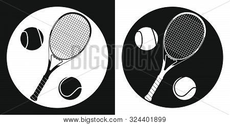 Tennis Racquet And Tennis Ball Icon. Silhouette Tennis Racquet And Tennis Ball On A Black And White