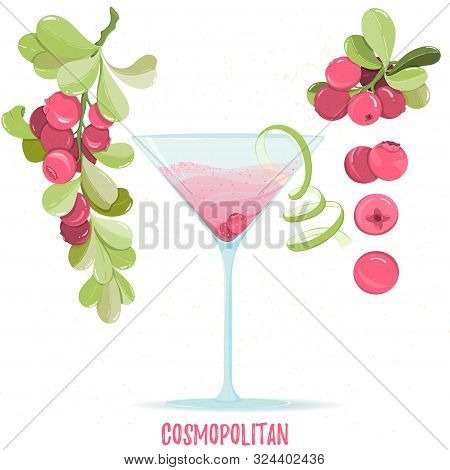 Illustration Of Alcohol Cocktail Cosmopolitan. Glass With Summer Cocktail, Cranberry Berries And Lim