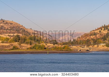 Bridges Over The Mouth Of The Klickitat River In The Columbia River Next To Lyle, Washington, Usa.