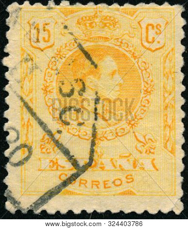 Vintage Stamp Printed In Spain 1917 Shows King Alfonso Xiii