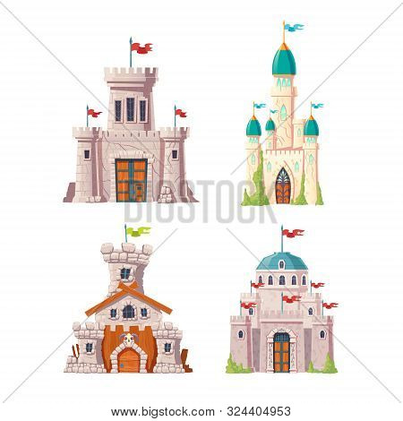 Fairytale Castles, Fantasy Fortresses Set. Medieval Citadels With Stone Watchtowers, Flags On Spires