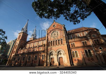 Beautiful Sideview Of Notre Dame Cathedral Basilica In Saigon