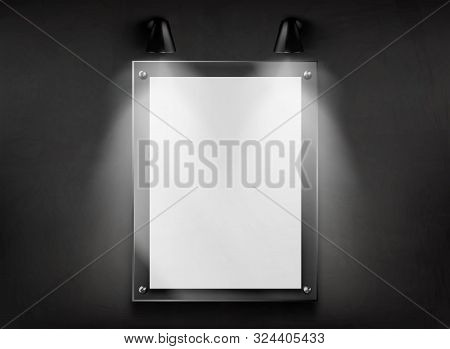 Blank Poster Or Photograph Glass Frame Hanging In Dark Room, Illuminated Two Wall Mounted Lamps 3d R