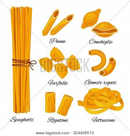 Pasta Cartoon Set Isolated On White Background. Different Types Of Italian Noodles With Names, Spagh