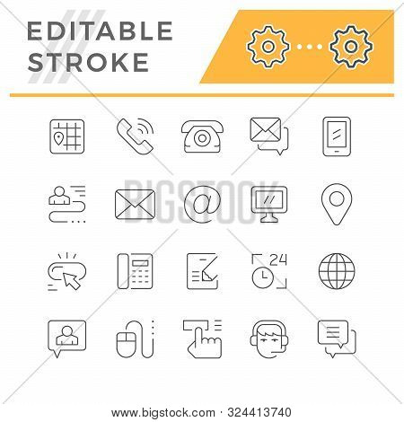 Set Editable Stroke Line Icons Of Contact Us Isolated On White. Email, Phone, Support, Address, Map,