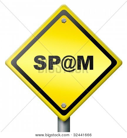 spam road sign diamond shape yellow icon or button spamdex spambot phishing email