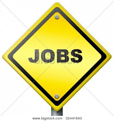 jobs ahead opportunity and warning for a career move or job interview or ad diamond road sign in yellow hiring now in an advert button or icon