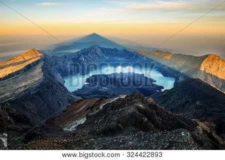 Mount Rinjani Summit In The Morning During Sunrise - Lombok, Indonesia.