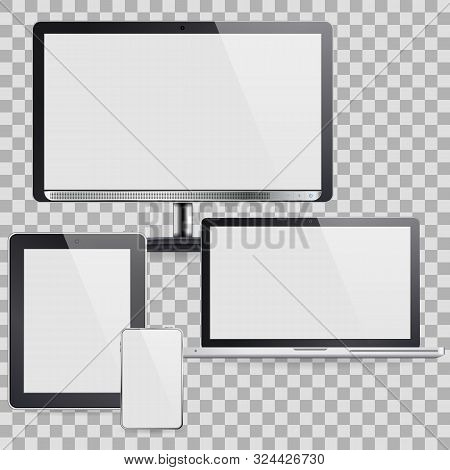 Set Of Computer Devices - Monitor, Laptop, Tablet Pc, Smartphone. Vector Isolated On Transparent Bac