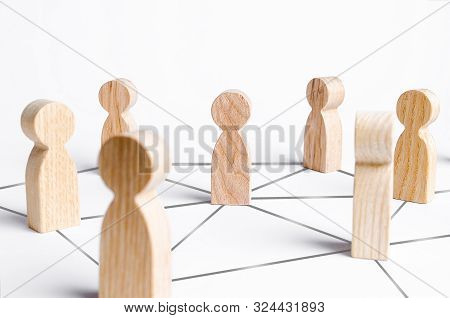 People Are Connected By A Network Of Gray Lines. Communication And Social Networks. Cooperation And