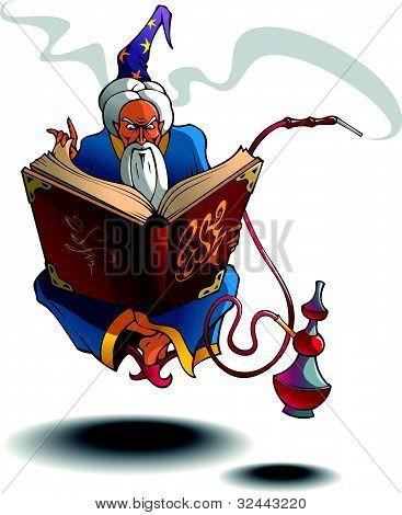 Arabian wizard levitating