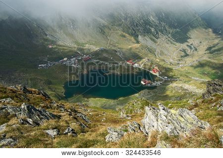 Panorama From 2000 Meters Altitude Where You Can See Bâlea Lac, Bâlea Lac Chalet And Transfăgărășan