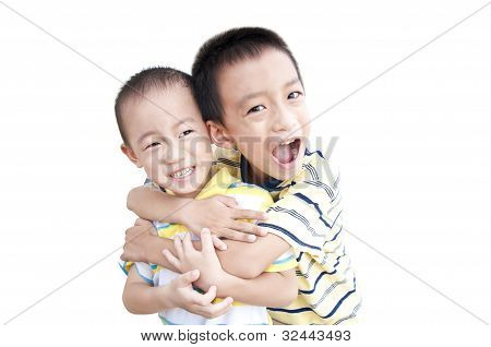 Happy brothers hold together
