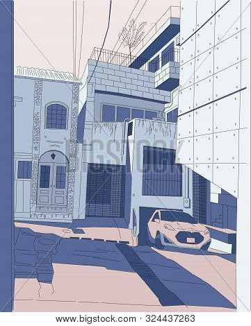 Tokyo Courtyard, Color Vector Illustration, Car In Old Yard Japan Manga Style Background Blue And Pi