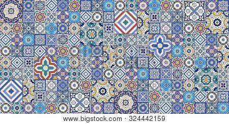 Gorgeous Seamless Pattern White Colorful Moroccan, Portuguese Tiles, Azulejo, Ornaments. Can Be Used
