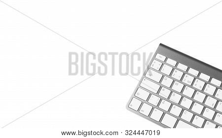 Close Up Computer Keyboard Isolated On White Background With Clipping Path. Keyboard Isolated For De