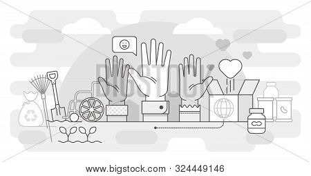 Volunteering Vector Illustration. Bw Help And Sharing Hope Outlined Concept. Care, Love And Good Hea