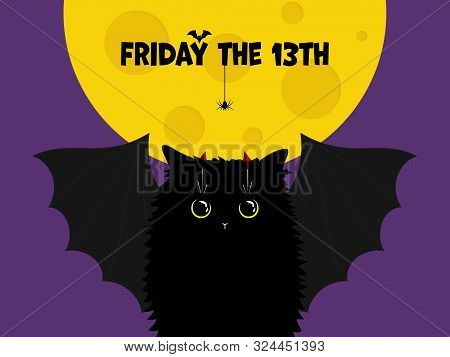 Cute Black Cat With Bat Wings On The Night Background With The Moon And Text With Spider And Bat. Fr