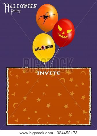 Halloween; Purple Background With Blank Invite Party Card With Bats Spiders Moon And Stars And Ballo