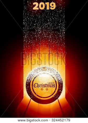 Christmas Decorated Bingo Lottery Ball With Decorative Text And Snow Over Glowing Background With St