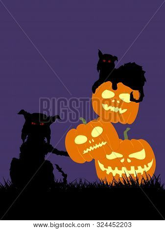 Hand Drawn Halloween Illustration Of Two Spooky Feral Cats Silhouette And Pile Of Pumpkins On Grass