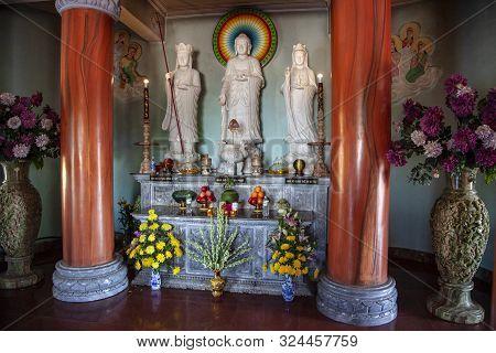 Da Nang, Vietnam - June 27, 2019: Peninsula Son Tra. The Lady Buddha Statue The Bodhisattva Of Mercy