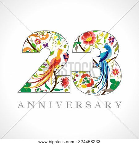 23 Years Old Logotype. 23 Rd Anniversary Numbers. Decorative Symbol. Age Congrats With Peacock Birds