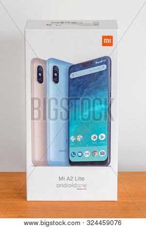 Pruszcz Gdanski, Poland - June 10, 2019: Paper Box Of Mobile Phone Xiaomi Mi A2 Lite.