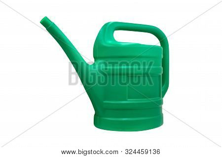 Image Of Green Plastic Garden Watering Can Isolated On White Background