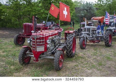 Rostov-on-don, Russia-may 20, 2018: Racing On Tractors In Rostov-on-don, Old Hurlimann Tractors D-60