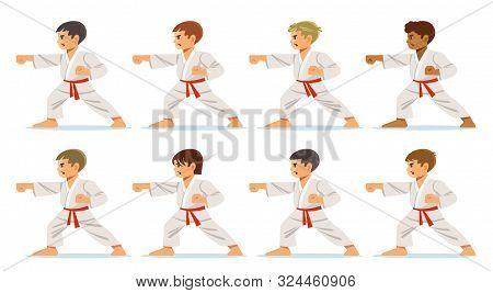 Kids Wearing Kimono And Karate Training. Young, Beautiful, Successful Multi Ethical Kids In Karate P