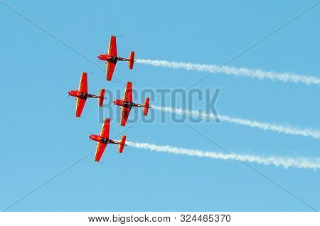Athens Greece, September 21 2019: The Royal Jordanian Falcons Planes Formation Performing Aerobatics
