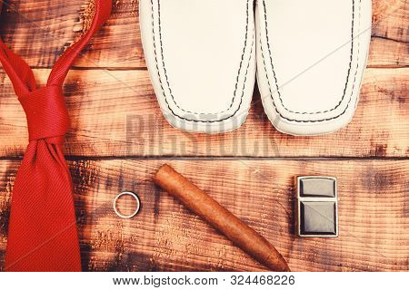Stylish Leather Shoes On Wooden Background. Groom Ready For Wedding. Menswear And Accessories. Cigar