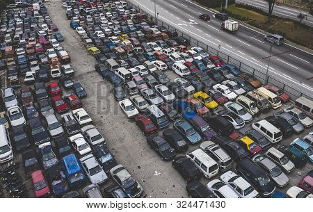 Top View Of Cars At Junkyard