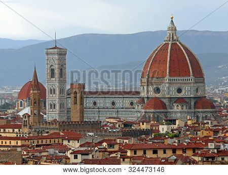 Cathedral And Giotto Bell Tower Of Florence In Italy