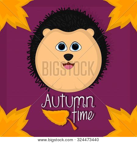 Autumn Time Card With A Cute Porcupine - Vector
