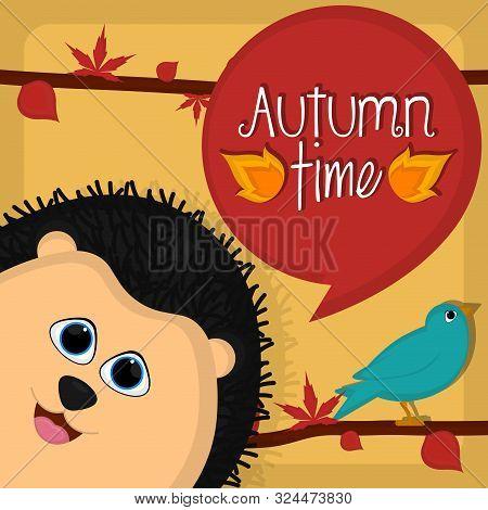 Autumn Time Card With A Cute Porcupine And Bird - Vector